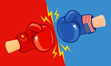 Vector vintage   for a boxing with gloves with two flags. Vintage emblem of two boxing gloves with flags China and USA. USA vs China, trade war. Ilustração