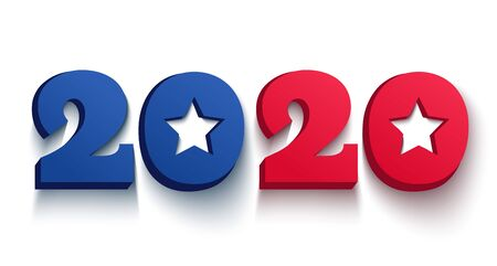 Vector vintage banner with 2020 for Christmas and New year. Election 2020 like american flag. Vote 2020.