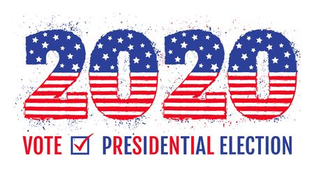 Vector vintage banner for 2020 presidential election in USA. 2020 like american flag for election of president. Vote 2020.