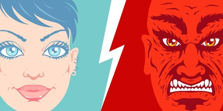 Vector vintage illustration of a beautiful girl face and angry man face. Retro illustration of a girl and man portrait in comics style.