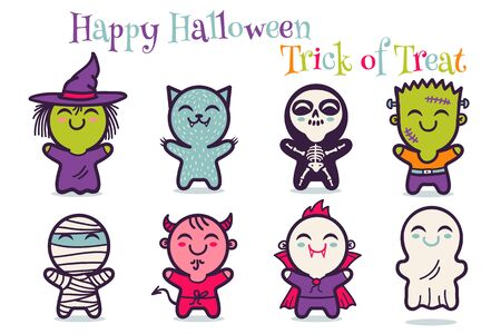 Vector set illustrationn of children in costumes for Halloween. Illustrations with cute kids in Halloween monsters costumes. Halloween monsters.