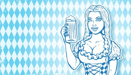 Vector illustration of a girl for Oktoberfest in retro style. Vector girl with beer in vintage style for Oktoberfest festival. Octoberfest girl with beer mug.