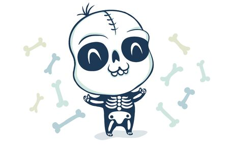 Vector illustration of a skeleton. Illustration of a cute kid in skeleton costume. Halloween monster.