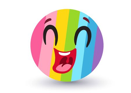 Vector rainbow emoji. Funny rainbow emoji in  style. Vector smile like rainbow. Banque d'images - 131494612