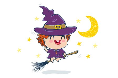 Vector illustration of a cute kid in witch costume. Halloween monster.