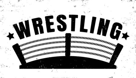Vector vintage a wrestling with ring. Retro emblem for wrestling. Poster of a wrestling in vintage style.