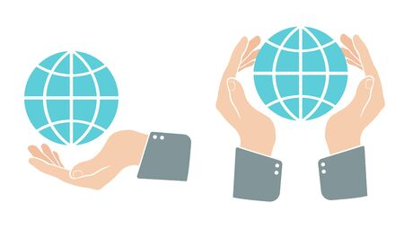 Vector set icons of a hand with globe. Hand with blue globe in retro style.