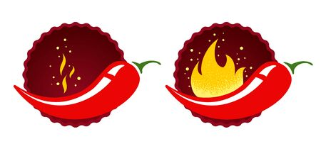 Mild or medium and hot chilli pepper. Vector emblems jalapeno or chilli peppers. Chili pepper.  イラスト・ベクター素材