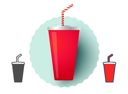 Vector illustration of a glass with cold drink. Cold drink from fast food. Çizim