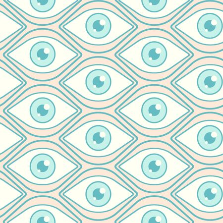 Vector seamless abstract pattern with open eyes. Retro seamless pattern with eye. Vector texture in retro style.