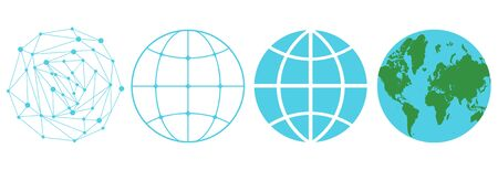 Vector set icons of a globe in different style. Vector blue globe in retro and futuristic styles. 일러스트