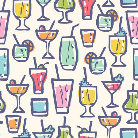 Vector seamless pattern with different cocktails. Retro pattern for cocktail party. Vector pattern with alcohol drinks. Vettoriali