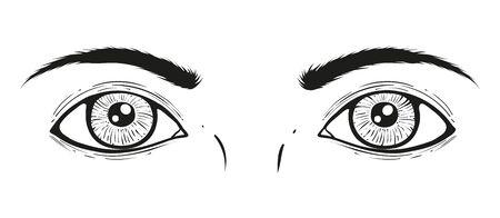 Vector illustration of a eyes. Vintage vector illustration of half face wit eyes. Stock Illustratie