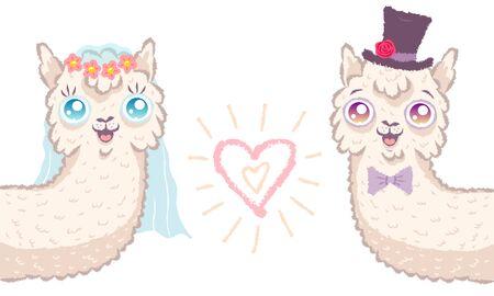 Vector illustration of a cute llamas for wedding invitation. Cute alpaca. Bride and bridegroom with heart.