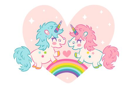 Vector greeting card  with cute unicorns in kawaii style. Vector card cute unicorns for Valentines day.  向量圖像