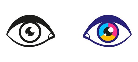 Vector illustration of a eyes. Vintage vector illustration of black and colorful eyes. Icon of eye. 向量圖像