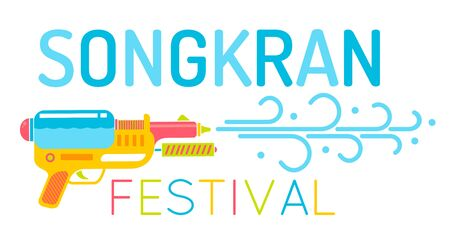 Vector   of gun with water for Songkran festival. Poster for water festival with gun in Thailand.