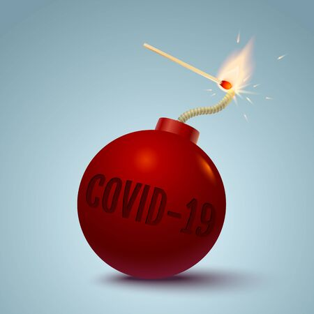 Vector illustration of a bomb with text og covid-19 and match in fire and sparks. Bomb with coronavirus and match. Ilustración de vector