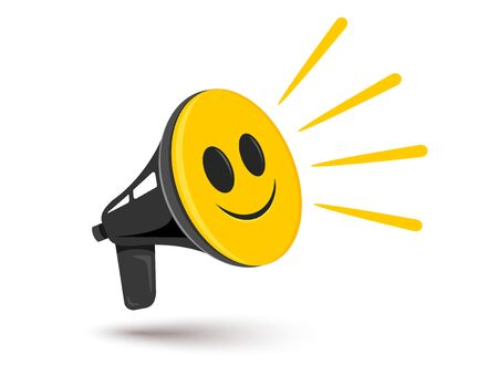 Vector icon of vintage megaphone with positive smile. Vector retro megaphone with happy emoji. Positive news.