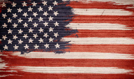 Veintage American flag on wooden texture. Vintage flag of USA on wood background. Presidential elections 2020. Vote. Archivio Fotografico