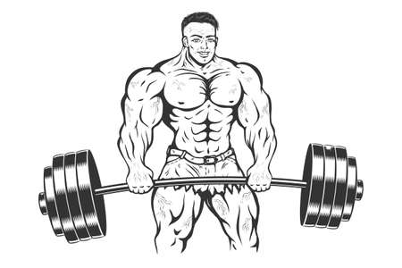 Vector illustration of a bodybuilder with barbell. Vintage cartoon of a bodybuilder or powerlifter. Strong man.