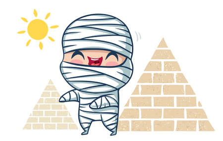 Vector illustration of a mummy, Illustration of a cute kid in skeleton mummy and pyramids. Halloween monster.