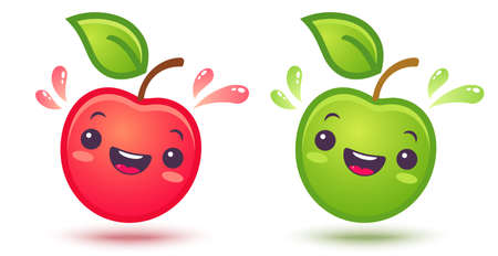 Vector set icons of apple in style. Cute red and green apples with juicy drops in manga style. 向量圖像