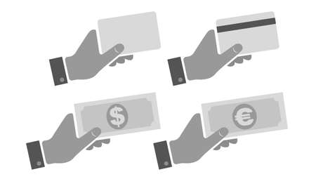 Vector set flat icons of hand with card and money. Vector set illustrations of hand with credit card and dollar and euro banknotes. 向量圖像