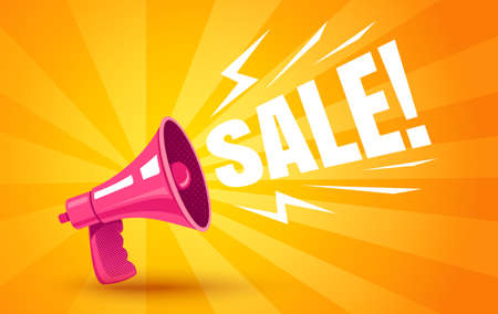 Vector vintage poster with retro pink megaphone on yellow background for black friday. Retro megaphone yellow abstract background for sale.