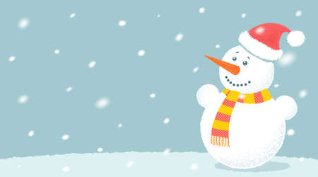 Vector illustration of snowman for Christmas and New year. Vector snowman with snowflakes. Christmas background. 矢量图像
