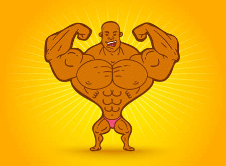 Vector illustration of a black bodybuilderon yellow background. Vector cartoon of a bodybuilder.