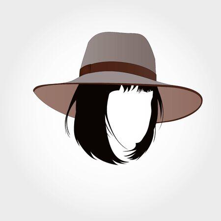 bob: Bob cut silhouette in hat, bob haircut