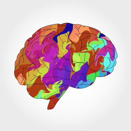 fissures: abstract multicolored brain Illustration