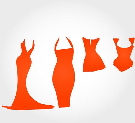 Dresses silhouette set, corset silhouette 向量圖像