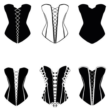Corset set, corset silhouette set