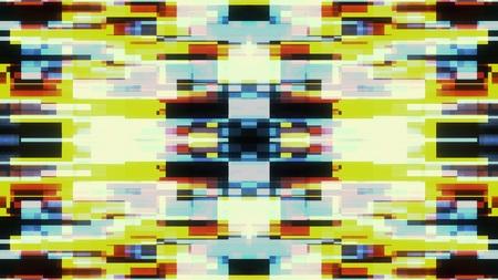 symmetrische glänzende Form Glitch Interferenz Bildschirm Illustration Hintergrund neue Qualität Digitaltechnik Muster bunt stockbild
