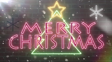 neon Merry christmas tree neon sign congratulation banner with star and snowflakes falling on brick wall background illustration New quality technology dynamic colorful holiday stock image