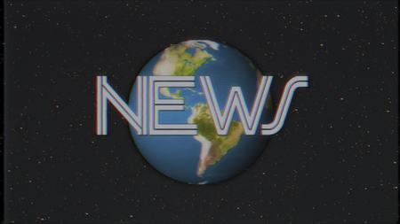 earth globe in stars space old vhs tape retro effect tv screen illustration background New quality universal retro vintage Stock Photo