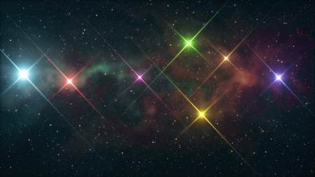 seven rainbow colored stars shine in soft nebula night sky illustration background new quality nature scenic cool colorful nice light stock image