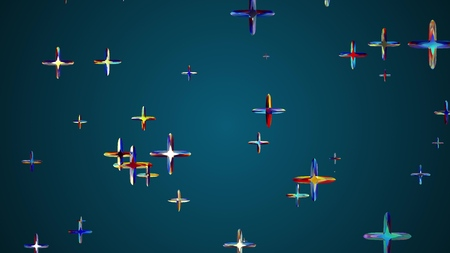 many random colorful crystal pluses flying floating in space illustration background new quality universal colorful joyful cool 4k stock image Stock Photo