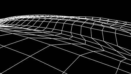 retro cyberspace grid net polygonal wireframe landscape drawing graphics illustration background new quality vintage style cool nice beautiful 4k stock image
