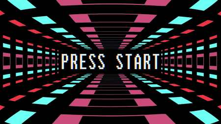 retro game style infinite tunnel flight seamless loop animation with press start text - new quality 4k vintage colorful joyful video footage Imagens