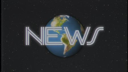 retro NEWS text with earth globe on old vhs tape retro intro effect tv screen illustration background New quality universal vintage colorful stock image
