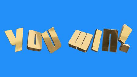 golden YOU WIN words illustration 3d rendering on blue screen background new quality unique financial business text glamour astock image