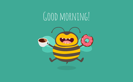 bee cartoon funny nd good mood happy