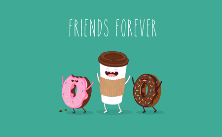 glazed: Cartoon comic coffee cup and donut. Take coffee and donut with you. Vector cartoon illustration. Coffee to go.