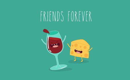 Vector cartoons van striptekeningen fles wijn, glas wijn en kaas. Voor altijd vrienden. Stockfoto