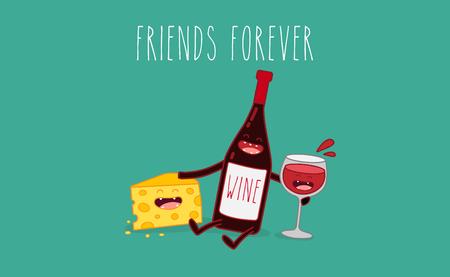Caricatures vectorielles de personnages comiques bouteille de vin, verre de vin et fromage. Amis pour toujours. Banque d'images - 83854753