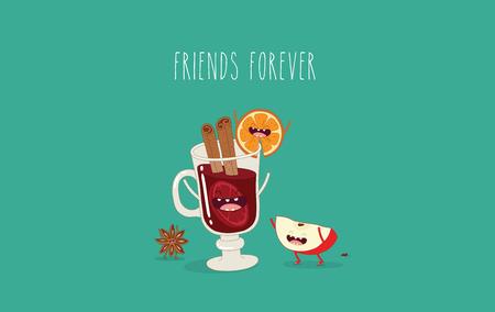 Caricatures vectorielles de personnages comiques bouteille de vin, verre de vin et fromage. Amis pour toujours. Banque d'images - 83725844