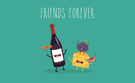 Caricatures vectorielles de personnages comiques bouteille de vin, verre de vin et fromage. Amis pour toujours. Banque d'images - 83725845